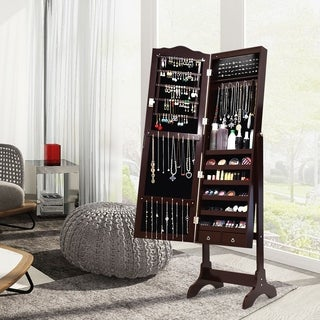 Jewelry Cabinet Armoire Organizer Drawer and Dressing Mirror LED Light
