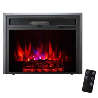 XBrand Insert Fireplace Heater With Remote Control and Flame Effect, 25 Inch Long, Black