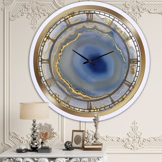 Silver Orchid Clayton 'Golden Agate' Oversized Fashion Wall Clock