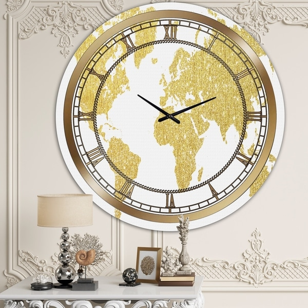 Designart 'Map Of The Earth' Large Fashion Wall Clock
