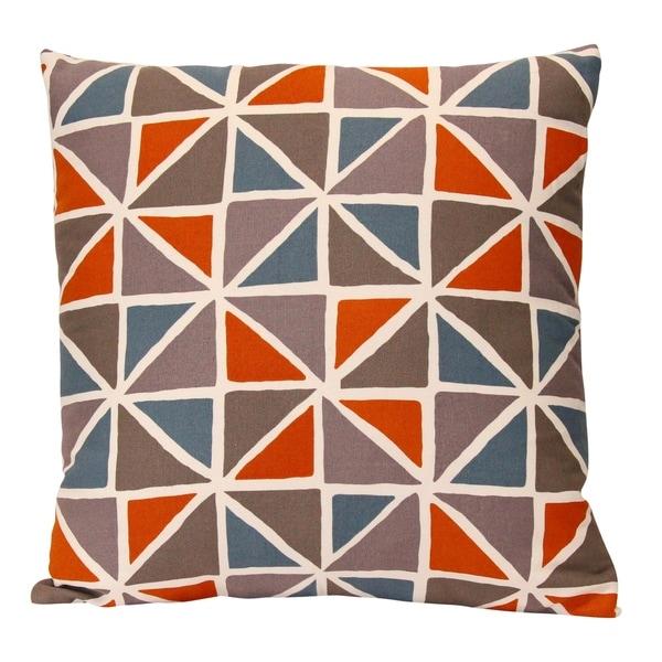 "Stratton Home Decor Orange and Blue Geometric 18"" Square Pillow"