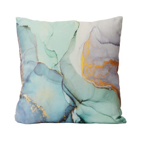 "Stratton Home Decor Blue Green Marble 18"" Square Pillow"