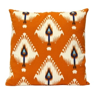 "Stratton Home Decor Orange Ikat 18"" Square Pillow"