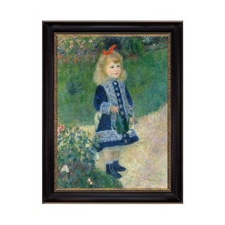 A Girl with a Watering Can by Pierre Auguste Renoir 1876 Black Frame Oil Print on Canvas Art 21 In. x 27 In. - 24 x 28