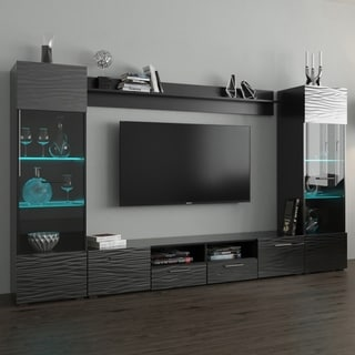 Link to Strick & Bolton D'Olivier Wall Entertainment Center with LED Lights Similar Items in Media Cabinets