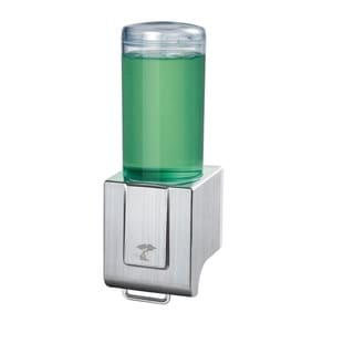 ToiletTree Products Deluxe Shampoo and Soap Dispensers No Drilling. Pull Lever Dispenser. (Brushed Aluminum, Single)