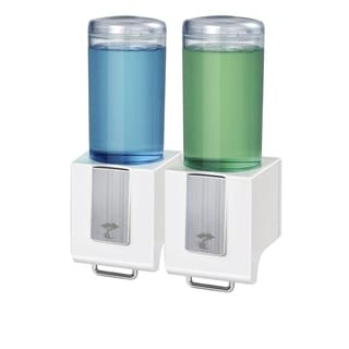 ToiletTree Products Deluxe Shampoo and Soap Dispensers No Drilling. Pull Lever Dispenser. (White, Double)