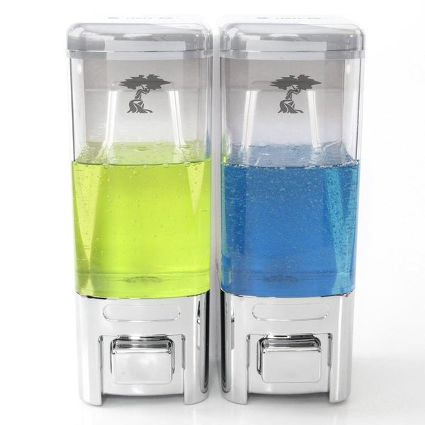 ToiletTree Products Shampoo and Soap Dispensers No Drilling. (Chrome, Double)
