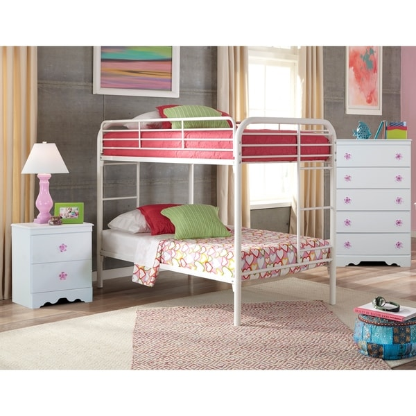 A Furniture Classics Savannah Collection 269K3TT including Twin over Twin Metal Bunkbed, Night Stand, and Five Drawer Chest