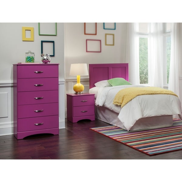 A Furniture Classics Raspberry 171K3T including Twin Headboard, Five Drawer Chest, and Night Stand