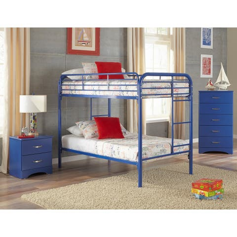 A Furniture Classics Royal Blue 179K3TTincluding Twin over Twin Metal Bunkbed, Night Stand, and Five Drawer Chest