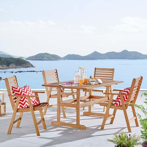 """Hatteras Outdoor Patio Eucalyptus Wood Dining Set with 59"""" Table"""