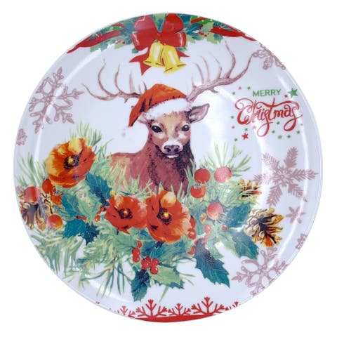 "Christmas Reindeer Round Dining Plate 10"" with Plate Holder"