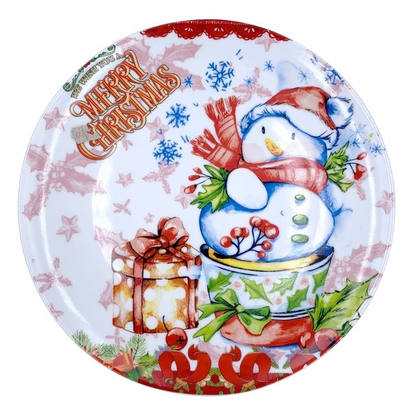"""Christmas Snowman Round Dining Plate 10"""" with Plate Holder. Opens flyout."""