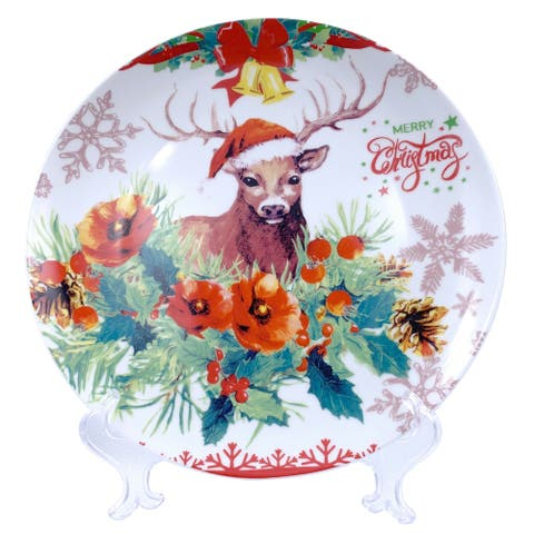 "Christmas Reindeer Round Appetizer Plate 7"" with Plate Holder"