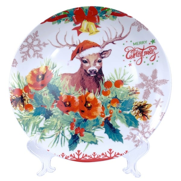 "Christmas Reindeer Round Appetizer Plate 7"" with Plate Holder. Opens flyout."