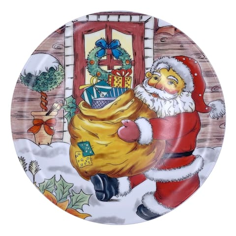 "Christmas Santa Round Dining Plate 10"" with Plate Holder"