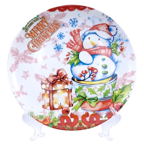 "Christmas Snowman Round Appetizer Plate 7"" with Plate Holder"