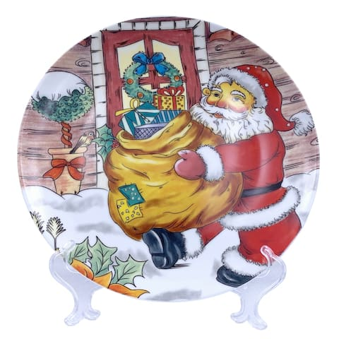 "Christmas Santa Round Appetizer Plate 7"" with Plate Holder"