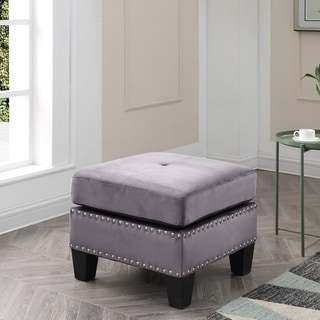 Link to Copper Grove Meharrize Tufted Velvet Ottoman Similar Items in Living Room Furniture