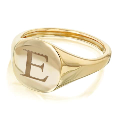 Annello by Kobelli 14k Yellow Gold Personalized Signet Initials Cushion Ring - Times