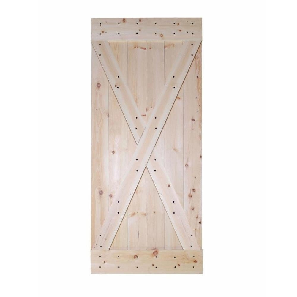 Calhome 42 In X 84 In X Panel Unfinished Solid Core Knotty Pine Sliding Interior Diy Barn Door Slab Overstock 30094571