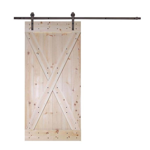 Calhome 42 In X 84 In X Panel Unfinished Solid Core Knotty Pine Sliding Interior Diy Barn Door Slab Overstock 30094575