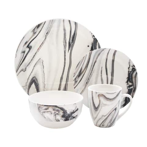 American Atelier Marble Coupe 16-Piece Dinnerware Set