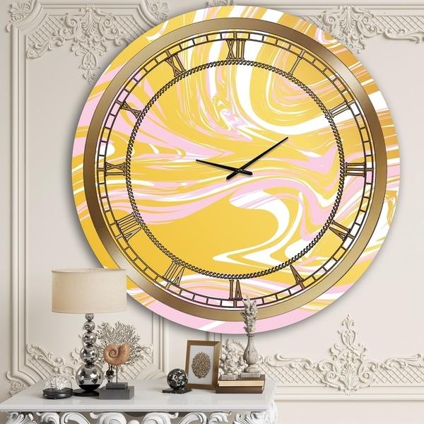 Designart 'Yellow Candy Swirl' Glam Wall Clock