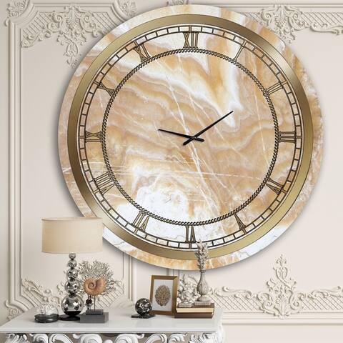 Designart 'Beige Marble' Glam Wall Clock