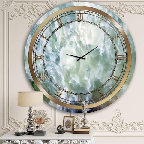 Designart 'Smokey Blue Marble' Glam Wall Clock