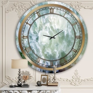Designart 'Smokey Blue Marble' Glam Wall Clock