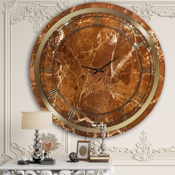 Designart 'Brown Marble' Glam Wall Clock