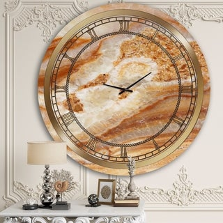Designart 'Orange Marble II' Glam Wall Clock