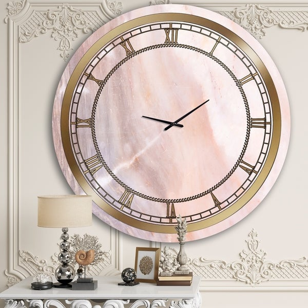 Designart 'Almost Invisible Pink Marble' Glam Wall Clock. Opens flyout.