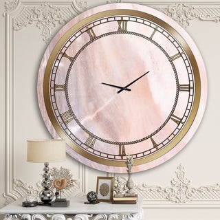 Designart 'Almost Invisible Pink Marble' Glam Wall Clock