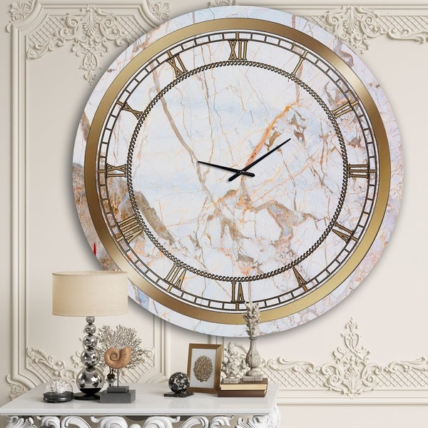 Designart 'White Marble' Glam Wall Clock