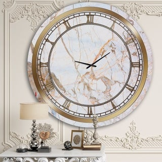 Designart 'White Marble' Glam Wall Clock
