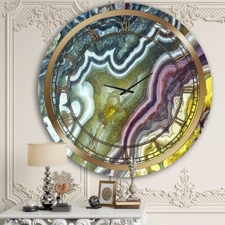Designart 'Colorful Clouds of Marble' Glam Wall Clock