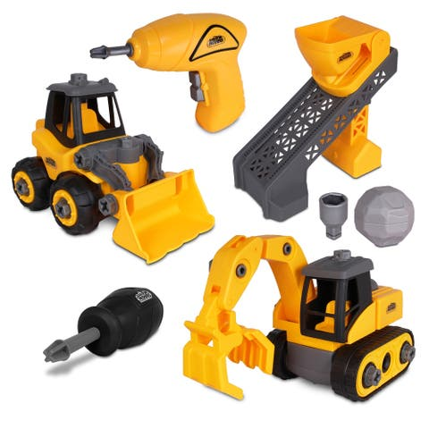 NKOK Earth Movers 7-Piece Deluxe Construction Playset
