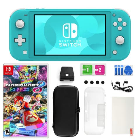 Nintendo Switch Lite Turquoise with Mario Kart 8 Deluxe, Accessory Kit