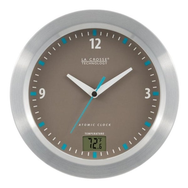 LA Crosse Technology Wood Accent Atomic Digital Wall Clock with in//Outdoor Temperature in White