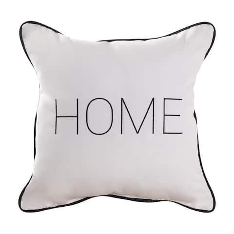 Porch & Den 'Home'/Black and White Stripe Canvas Indoor/Outdoor Throw Pillow