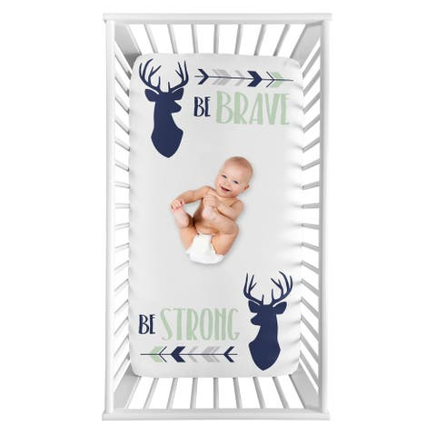 Sweet Jojo Designs Woodland Deer Collection Boy Photo Op Fitted Crib Sheet - Navy Blue Mint Grey Woodsy Arrow Be Brave Be Strong