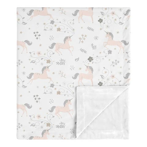 Sweet Jojo Designs Unicorn Collection Girl Baby Receiving Security Swaddle Blanket - Pink, Grey, and Gold