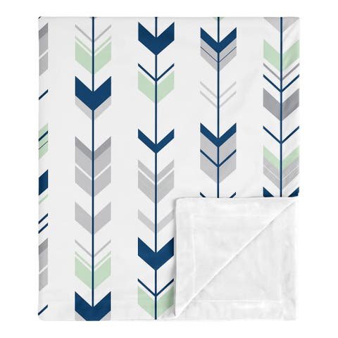 Sweet Jojo Designs Woodland Arrow Woodsy Gray Collection Boy Baby Receiving Security Swaddle Blanket - Navy Blue, Mint and Grey