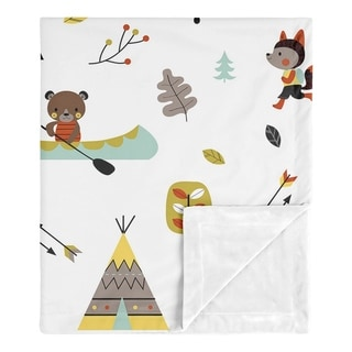 Sweet Jojo Designs Woodland Outdoor Adventure Collection Boy or Girl Baby Receiving Security Swaddle Blanket - Aqua and Yellow