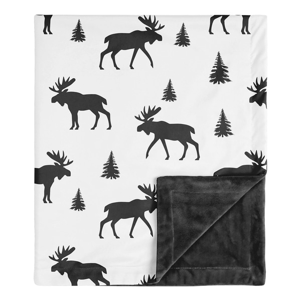 Sweet Jojo Designs Woodland Moose Rustic Patch Collection Boy Baby Receiving Security Swaddle Blanket - Black and White. Opens flyout.