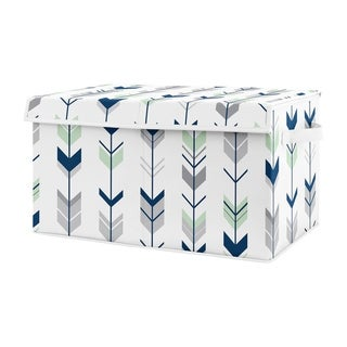 Sweet Jojo Designs Navy Blue, Mint and Grey Woodland Arrow Woodsy Collection Unisex Boy or Girl Kids Fabric Toy Bin Storage