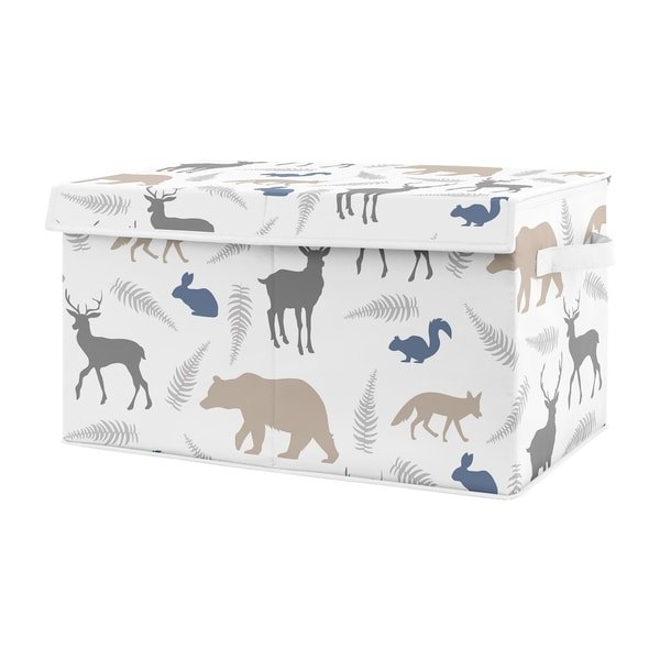 Sweet Jojo Designs Blue and Grey Bear Deer Fox Woodland Animals Collection Boy Kids Fabric Toy Bin Storage